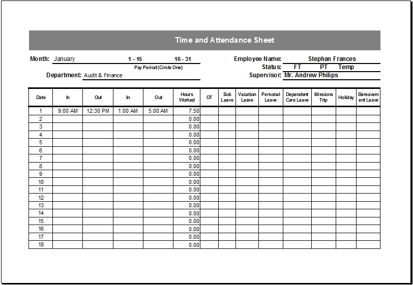Editable Printable Time and Attendance Sheet | Excel Templates