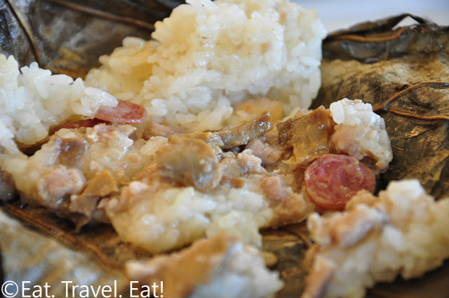 Interior of Seafood Sticky Rice in Lotus Leaf