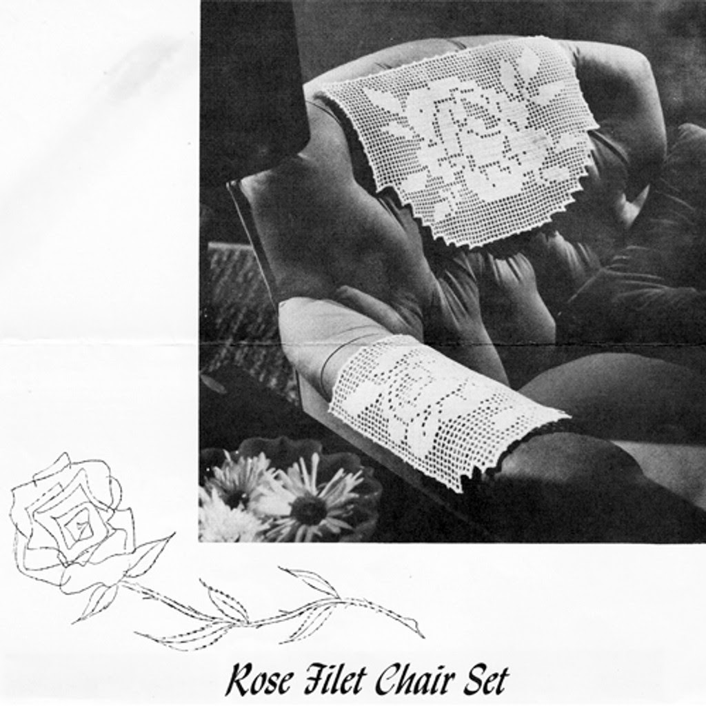 Rose Filet Crochet Chair Set Pattern, National Needlecraft
