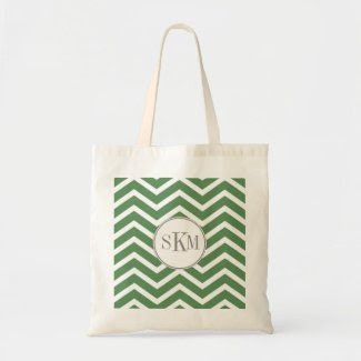 Chevron Monogram Personalized Tote Canvas Bag