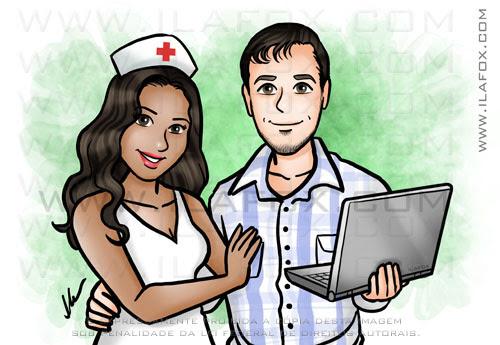 retrato personalizado, retrato casal, retrato enfermeira, segurando notebook, by ila fox