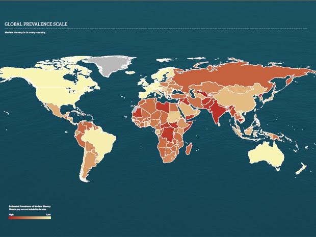 Mapa mostra prevalência da escravidão; quanto mais escura a cor, maior o índice (Foto: Reprodução/Walk Free Foundation)