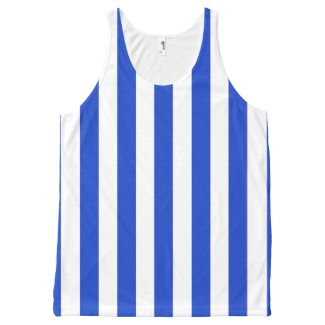 Unisex Tank Top with Blue and White Stripes All-Over Print Tank Top