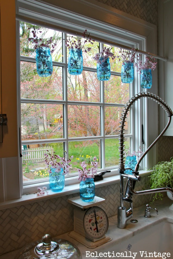 Eclectically Vintage Mason Jar Window Treatment eclecticallyvintage.com