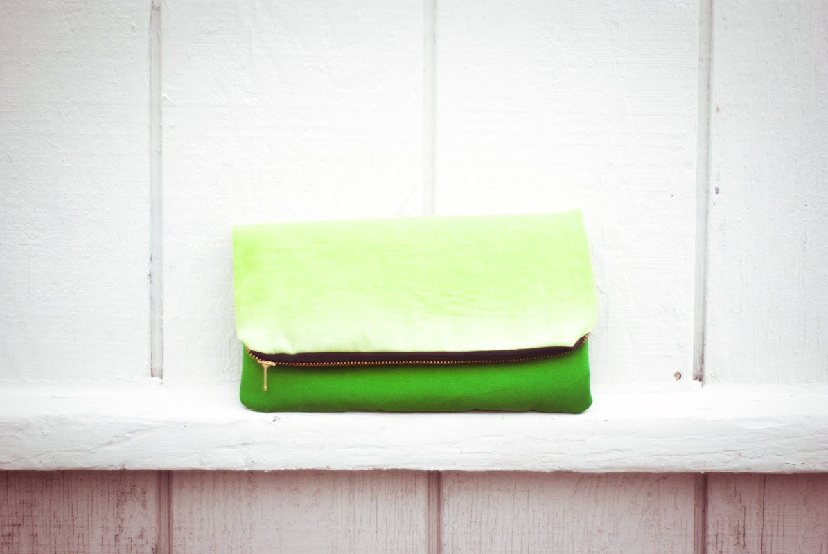 lime green ombre foldover clutch by rougeandwhimsy