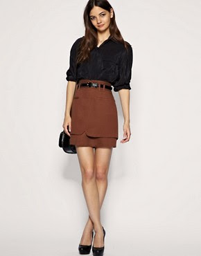 Image 1 of ASOS Tailored Belted High Waist Mini Skirt