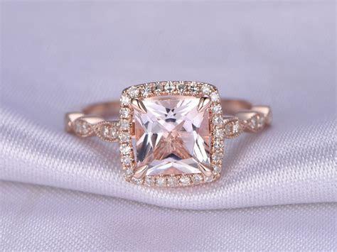 morganite Engagement ring,14k Rose gold,7mm Princess Cut