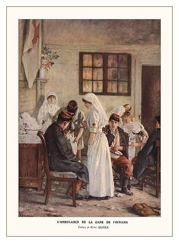 Nurses tending the wounded in Poitiers. Painting by Henri Gervex.