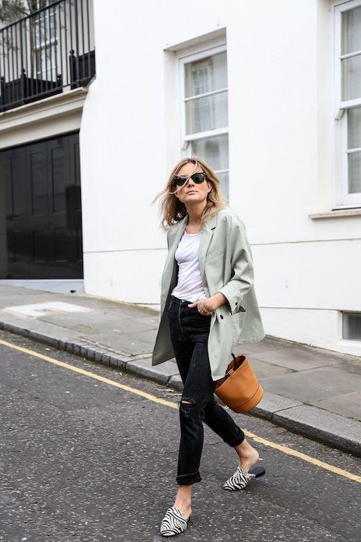 Le Fashion Blog Oversized Blazer White T Shirt Black Distressed Skinny Jeans Bucket Bag Zebra Print Slide On Mules Via Fashion Me Now