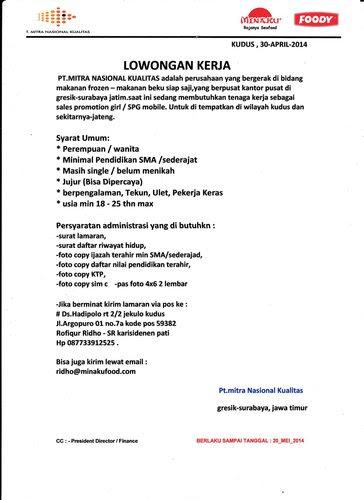 Lowongan Kerja Sebagai Sales Promotion Girl / SPG Mobile wilayah Kudus Dan Sekitarnya PT. Mitra Nasional Kualitas Mei 2014