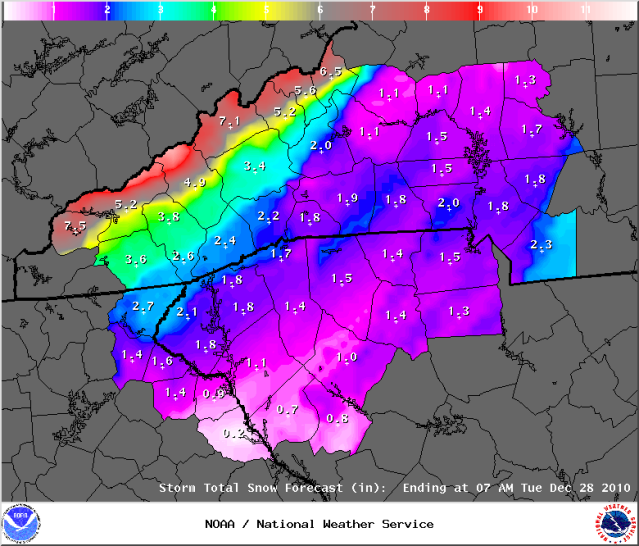 Second Snow Depth Forecast on Christmas Eve Courtesy of the Greenville Office of the National Weather Service