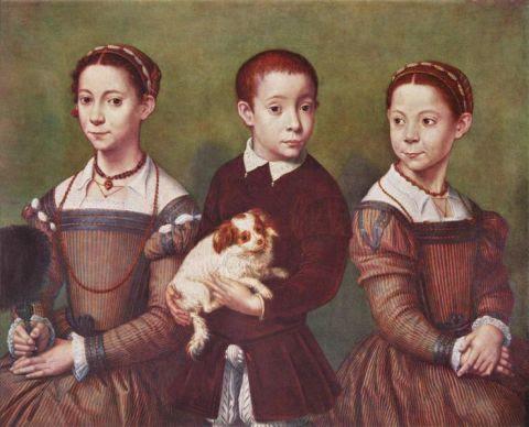 Tre bambini con cane