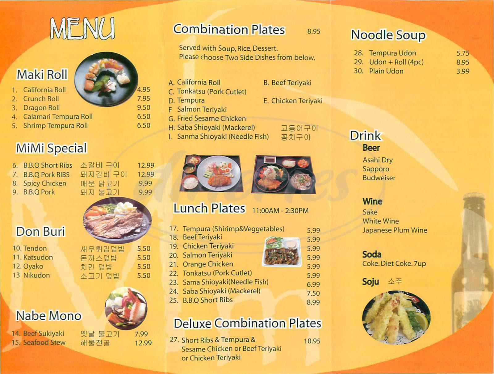 Mimi  Restaurant Menu Tustin Dineries