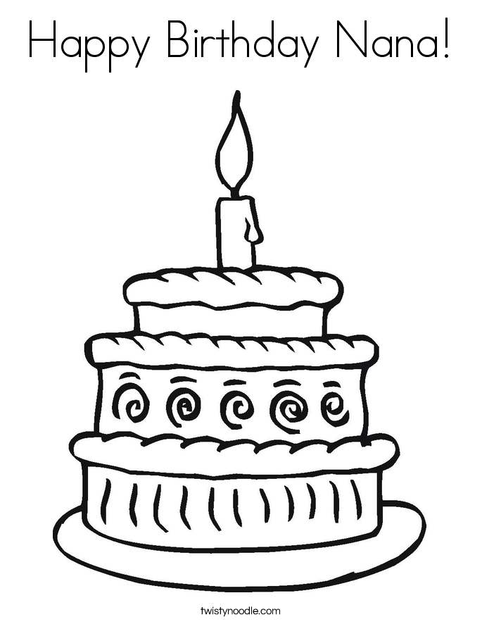 Happy Birthday Nana Coloring Page - Twisty Noodle