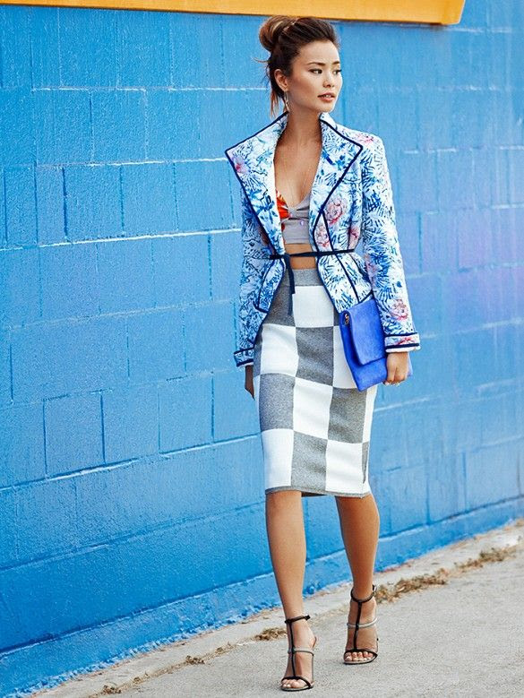 Jamie Chung loves mixing and matching bold colors and patterns. // #StreetStyle #OutfitIdeas