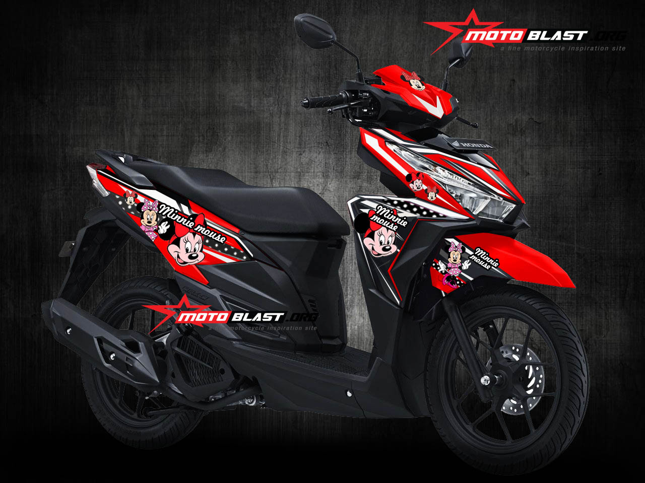 Modifikasi Motor Vario 125 Warna Merah Lampak Modifikasi