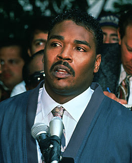 Rodney King pleads to the rioters to make peace May 1, 1992 in Los Angeles, CA. The riots left more than 50 dead, over 4,000 were injured and cost $1 billion in property damage.