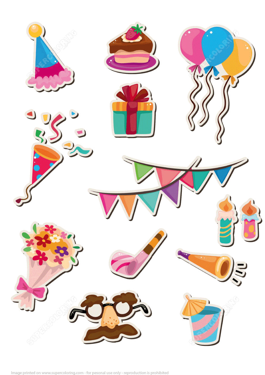 Printable Stickers for Happy Birthday Party | Free ...