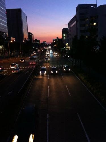 Tsukuba Center during twilight