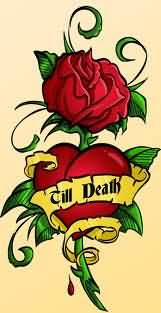 Red Heart And Red Rose Tattoo Design