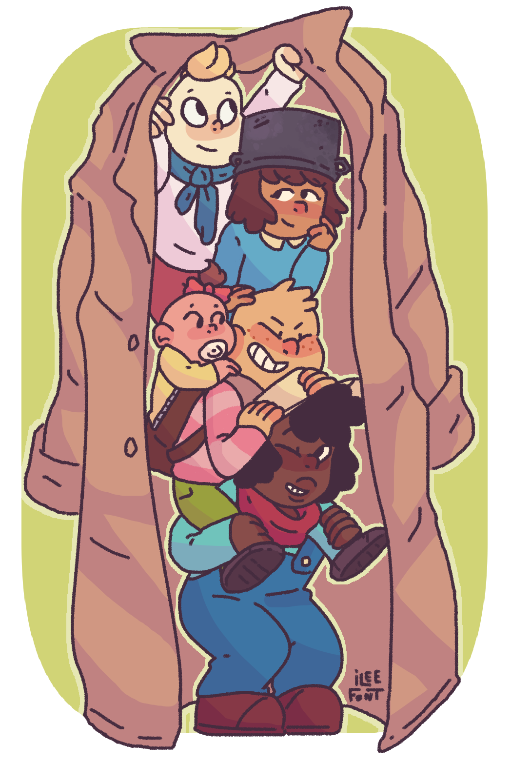 A bunch of kids in a trench coat