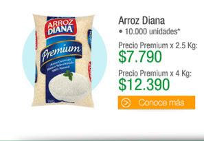 Arroz Diana - 10.000 unidades - Premium x 2.5 Kg precio x g $3,11 PRECIO: $7.790 TMC: $6.600 - Premium x 4 Kg precio x g $3,09 PRECIO: $12.390TMC: $10.500