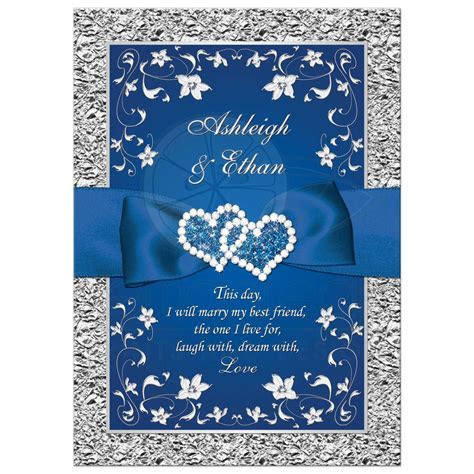 Royal Blue Wedding Invitation   FAUX Foil, Silver Floral
