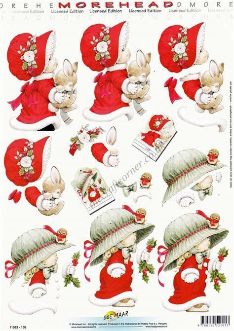 Morehead Girls In Christmas Bonnets 3D Decoupage Craft Sheet