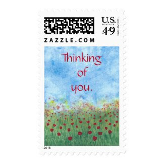 Thinking of you red poppies postal stamps