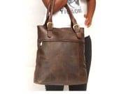 Leather tote bag Dark brown bag market bag library bag every day leather bag laptop bag - abizema
