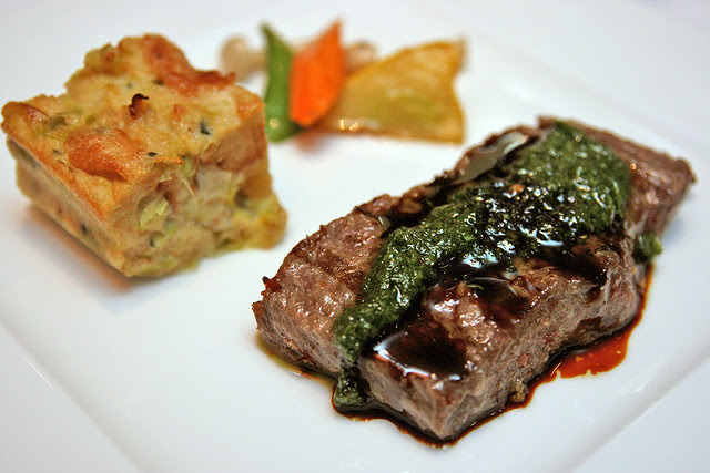 Degustation portion: Grilled Basque Wagyu Striploin  with Leek Bread Pudding  & Roasted Sesame-Coriander Vegetables