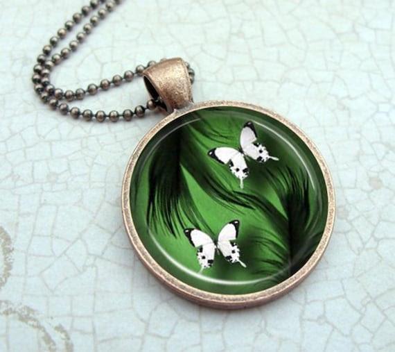 White Butterflies Necklace, Glass Dome Pendant Vintage Copper, Picture Pendant, Photo Pendant, Wearable Art Jewelry by Lizabettas
