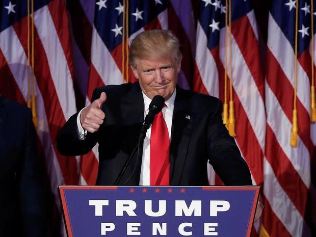O presidente eleito Donald Trump fala após vitória (Foto: Mike Segar/Reuters)