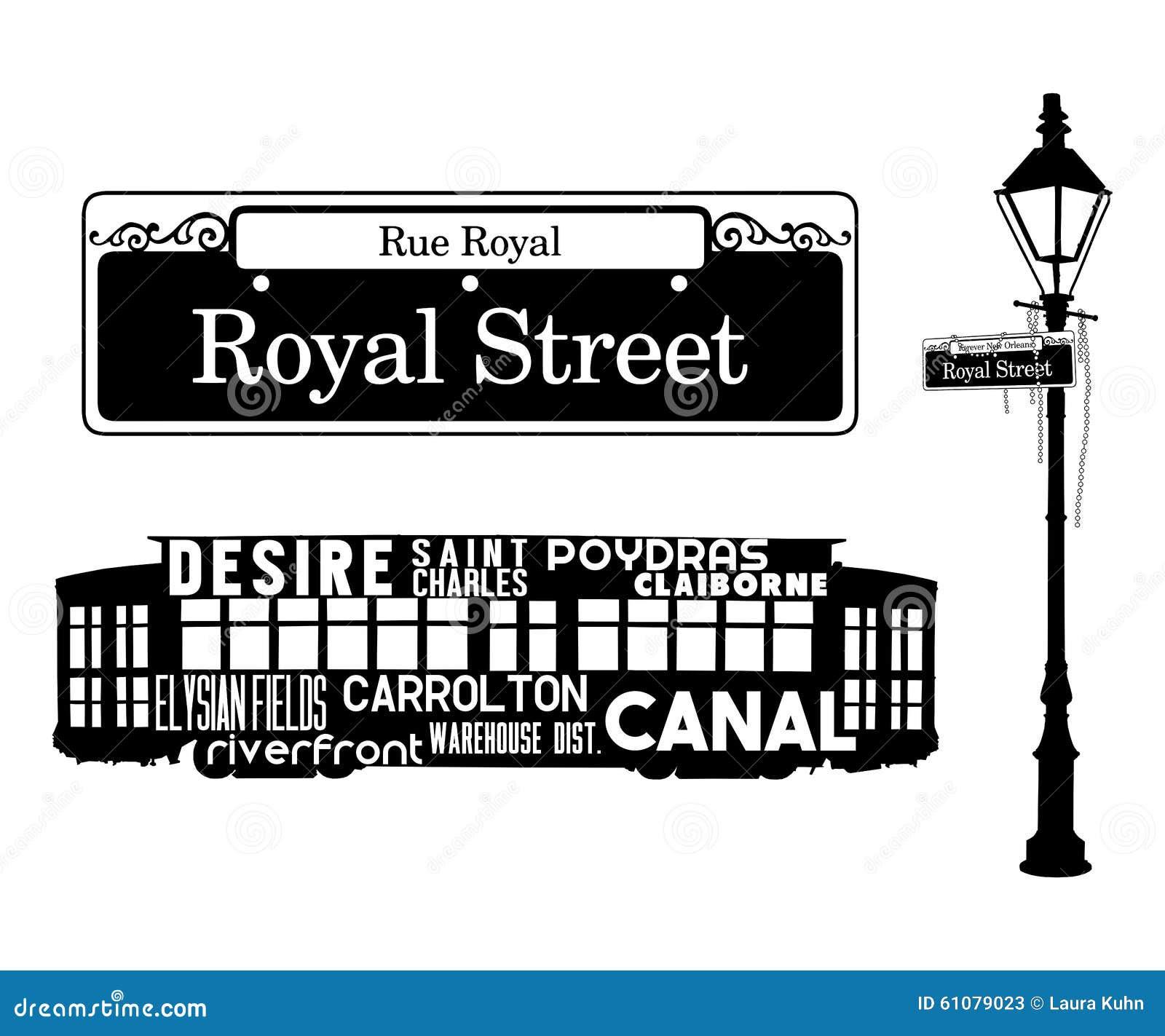 french quarter new orleans icons louisiana royal street st charles streetcar streetlight lamp mardi gras beads 61079023