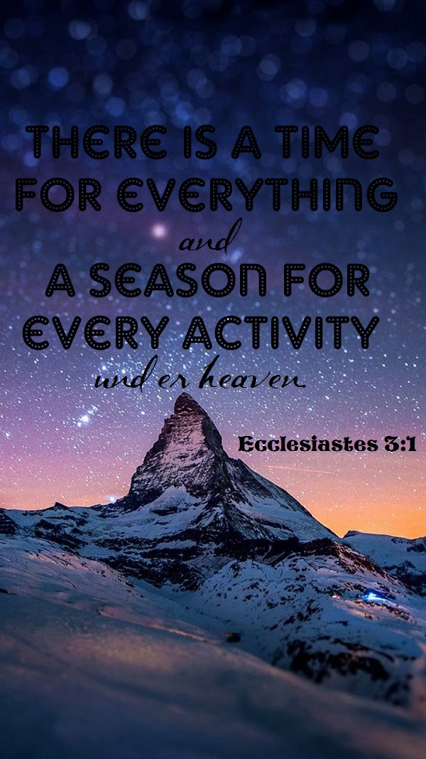 There Is A Time For Everything And A Season For Every Activity Under