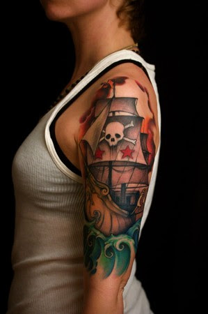 Pirate Tattoos on Off The Map Tattoo   Tattoos   Skull   Pirate Ship 1 2 Sleeve