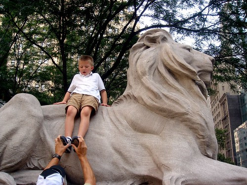Mason and a NY Public Library lion