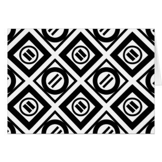 Black Equal Sign Geometric Pattern on White Greeting Card