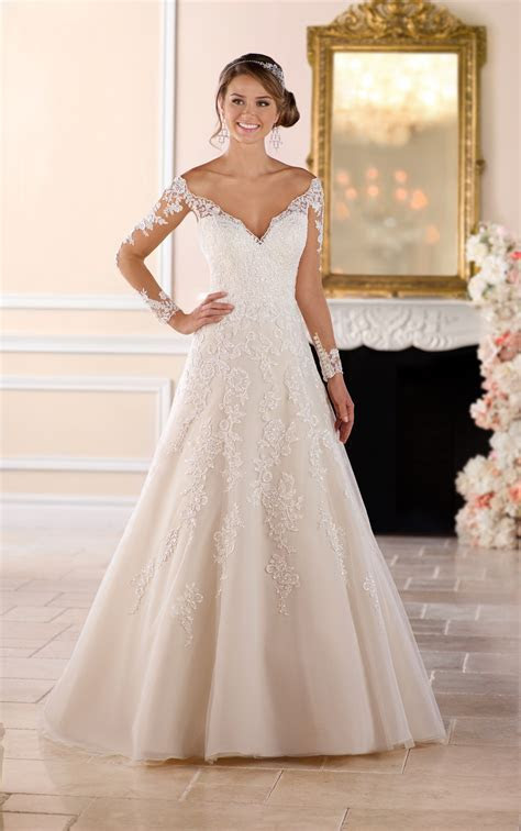 Off the Shoulder Lace Wedding Dress with Sleeves   Stella