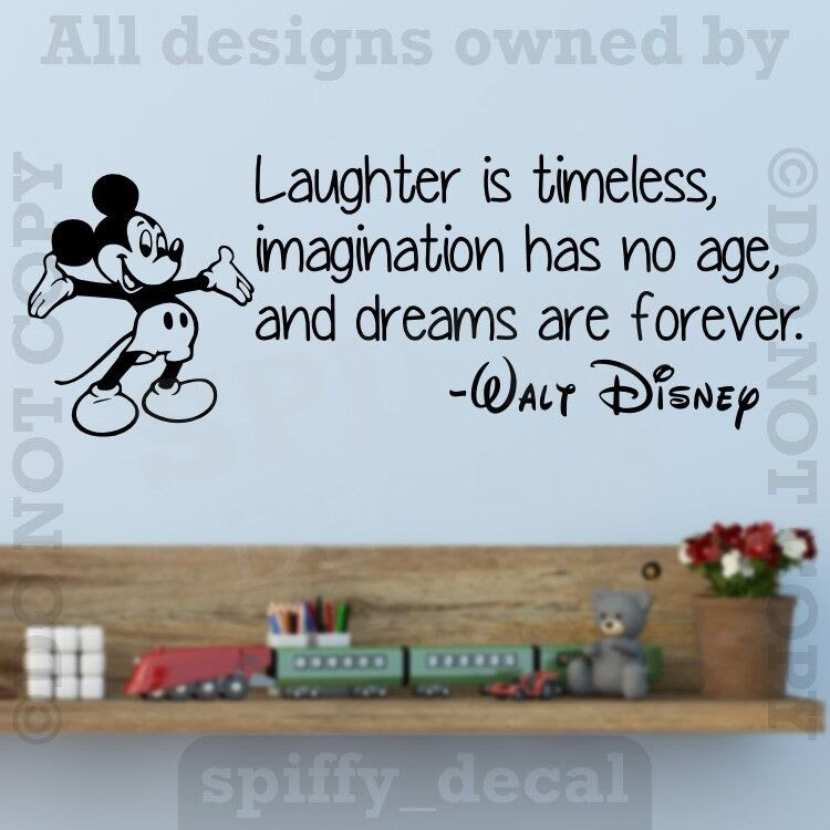 Disney Mickey Laughter Imagination Dreams Forever Wall Quote Vinyl Wall Decal  eBay
