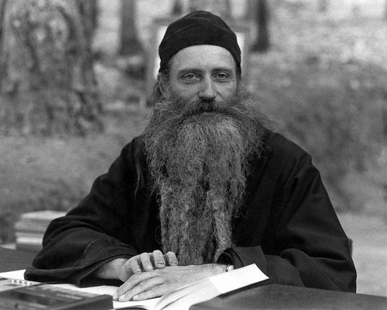 Fr. Seraphim Rose giving a lecture at the New Valaam Academy, Platina, 1980.