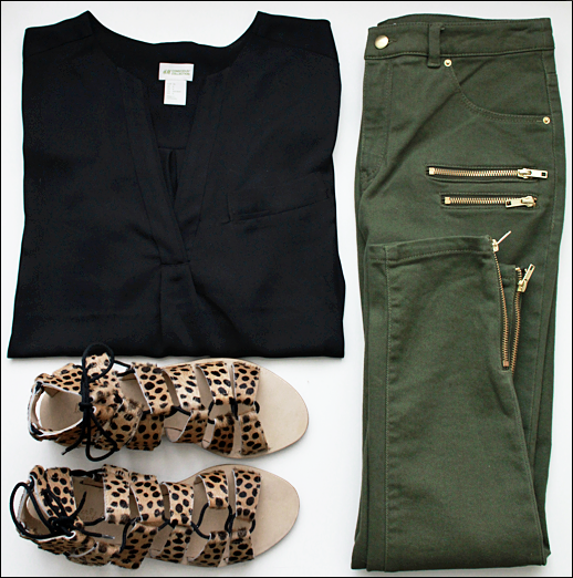 LE FASHION OUTFIT COLLAGE HM CONSCIOUS COLLECTION WHOWHATWEAR HM Conscious Black Flowy Blouse HM Conscious Olive Green Ankle Length Zipper Pants Loeffler Randall Skye Gladiator Haircalf Cheetah Print Sandals Sustainable Fashion Style Eco Chic Eco Friendly