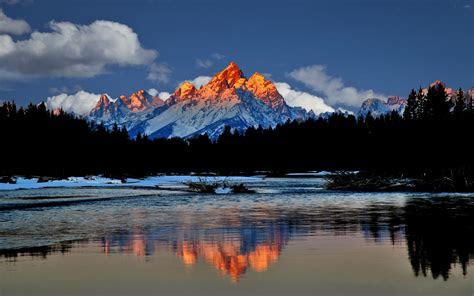 sunrise landscape grand teton national park  hd