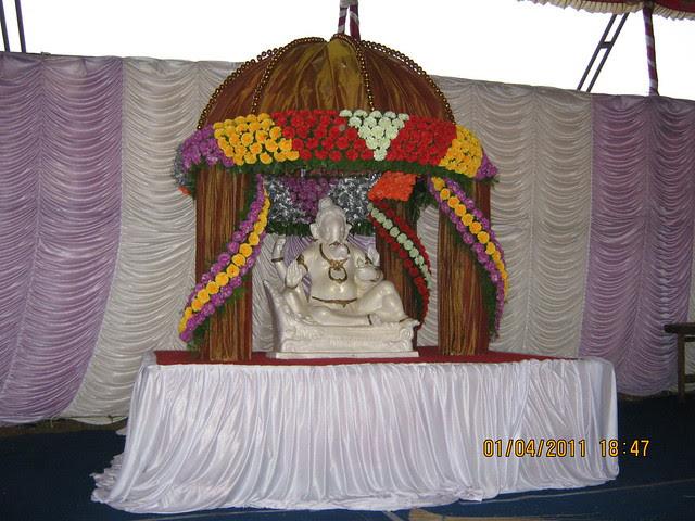 Well decorated Shri Ganapati Bappa in the pandal of Dajikaka Gadgil Developers' AnantSrishti Kanhe - Gated community of N A Bungalow Plots, Row Houses & 1 BHK 2 BHK 2.5 BHK Flats