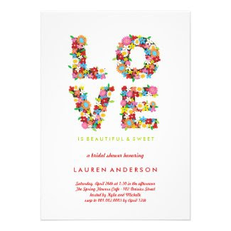 LOVE Spring Flowers Colorful Bridal Shower Party Personalized Invites