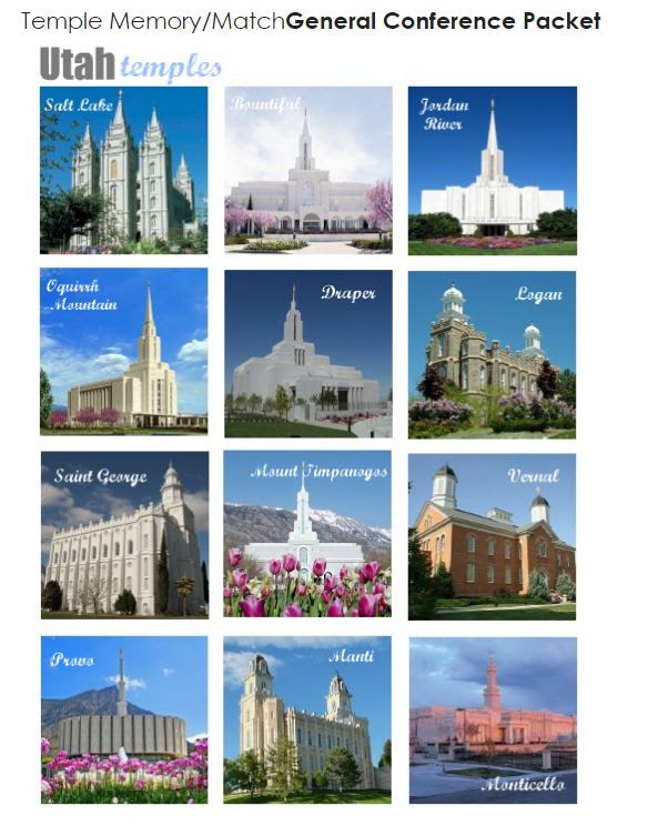 Temple Memory Matching General Conference Packet