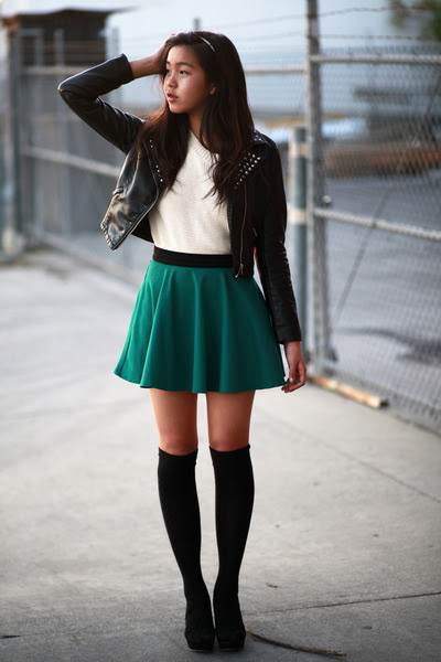dark green forever 21 skirts black hm jackets ivory