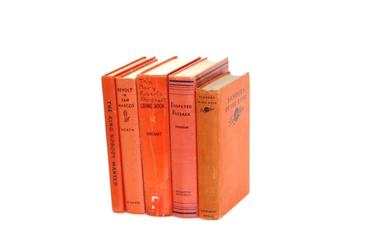 Front Page Featured- Tangerine Orange 5 Book Collection Vintage Photography prop Home decor Pottery Barn Style