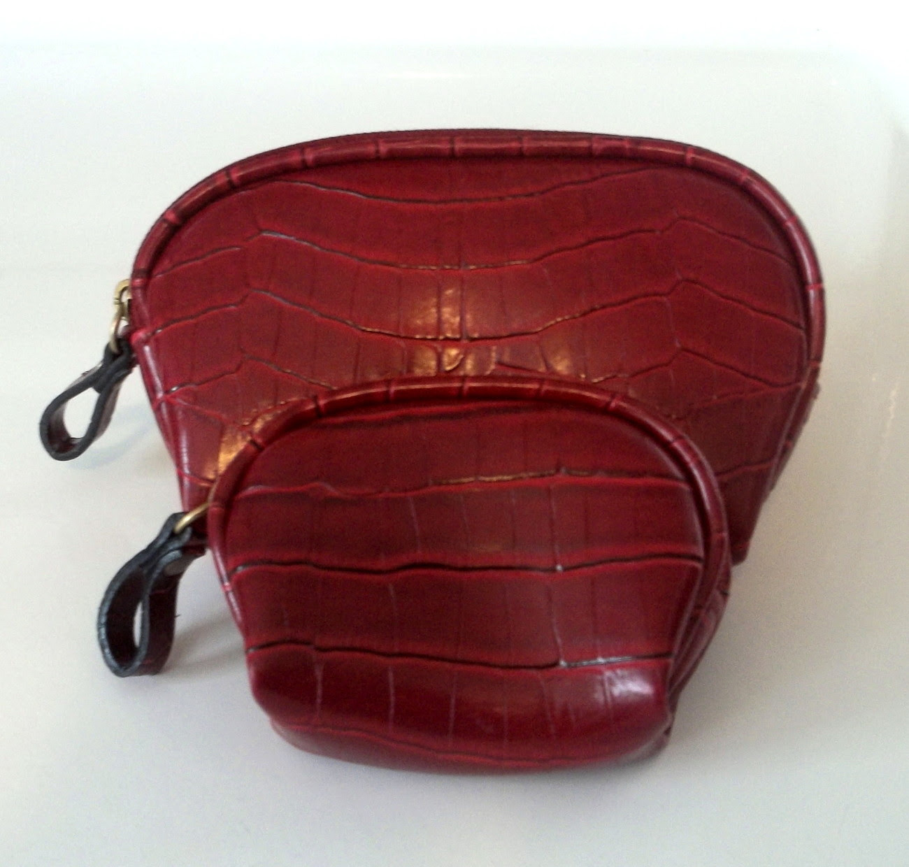 Cosmetic Bag and Coin Purse 2 Pc Set Red Crocodile Print Red