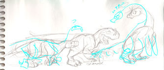 """""""Therizinosaurs Through the Years"""" blue sketch"""